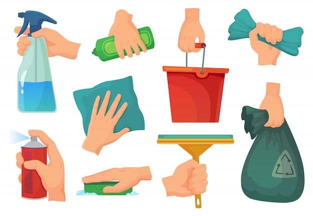 Productos de limpieza en manos. detergente de mano, suministros de tareas domésticas y trapo de limpieza conjunto de ilustración de dibujos animados Vector Premium