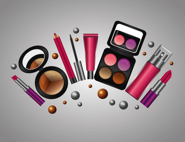 Productos de maquillaje cosmético del tubo de crema de aerosol Vector Premium