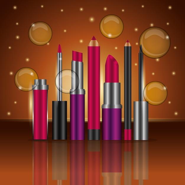 Productos de maquillaje cosmético Vector Premium