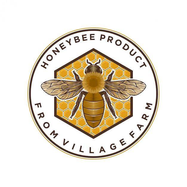Productos de miel o logotipo de granjas de abejas melíferas Vector Premium