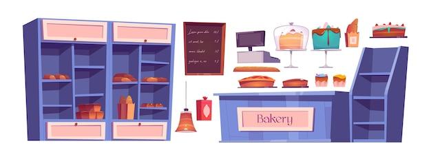 Productos de panadería y interior de la casa de repostería, confitería. estantes de madera con dulces, tartas, magdalenas en bandejas y pan fresco. menú de pizarra, mostrador de caja, conjunto de iconos de dibujos animados de lámpara vector gratuito