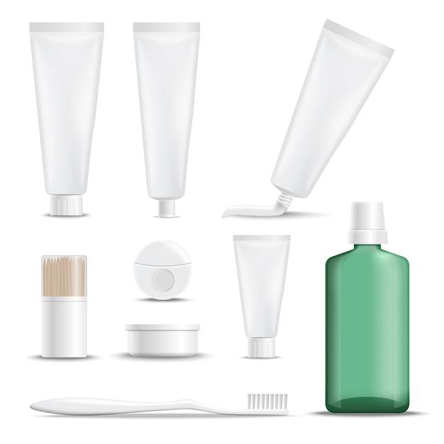 Productos realistas para el cuidado de los dientes vector gratuito