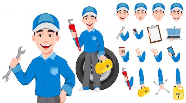 Profesional mecánico de automóviles en uniforme. Vector Premium