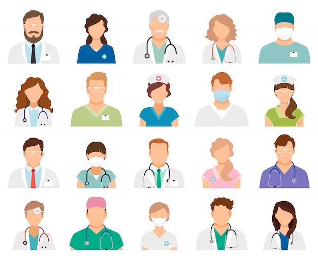 Profesional médico avatares aislados. profesionales de la medicina y personal médico personas ilustración vectorial Vector Premium