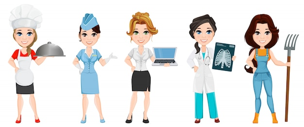 Profesiones. conjunto de personajes de dibujos animados femeninos Vector Premium