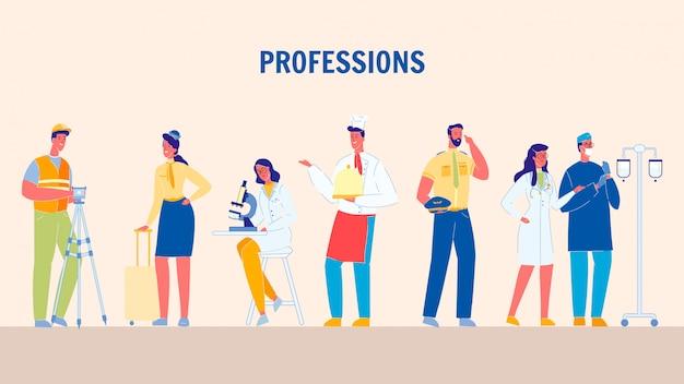 Profesiones, trabajos planos ilustraciones vectoriales conjunto Vector Premium