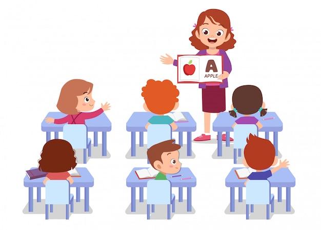 Profesor con alumno aislado Vector Premium