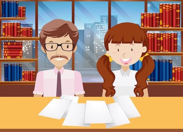 Profesor y alumnos en la biblioteca vector gratuito
