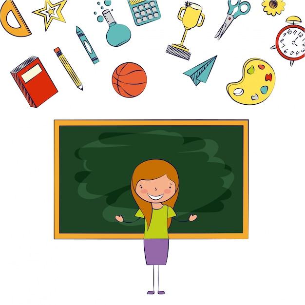 Profesor en un aula con elementos escolares ilustración vector gratuito
