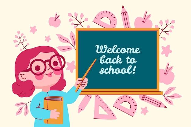 Profesor da la bienvenida a la escuela vector gratuito