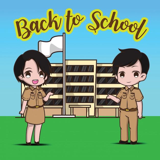 Profesor y escuela de regreso a la escuela. Vector Premium