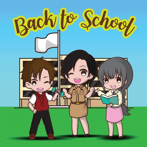 Profesor y escuela en el regreso a la escuela. Vector Premium