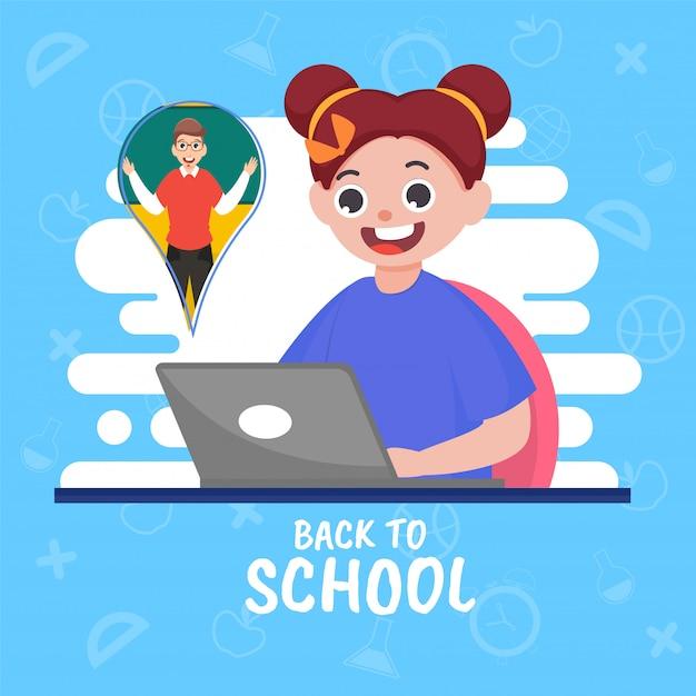 Profesor que enseña en línea en la computadora portátil a la muchacha linda en fondo blanco y azul del elemento de los suministros educativos para el concepto de regreso a la escuela Vector Premium