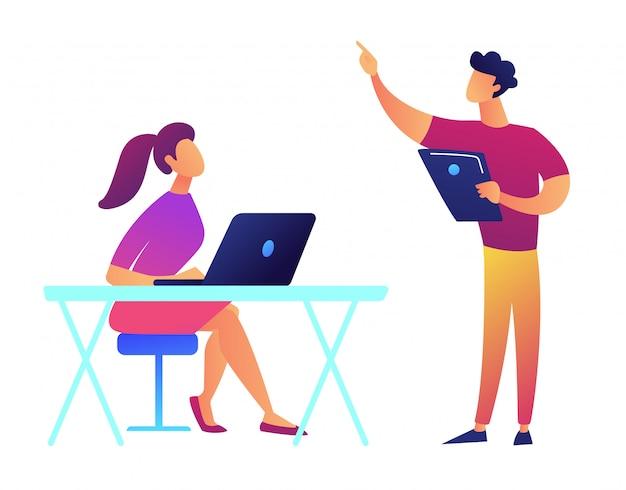 Profesor con tableta apuntando y estudiante con ilustración de vector de laptop. Vector Premium