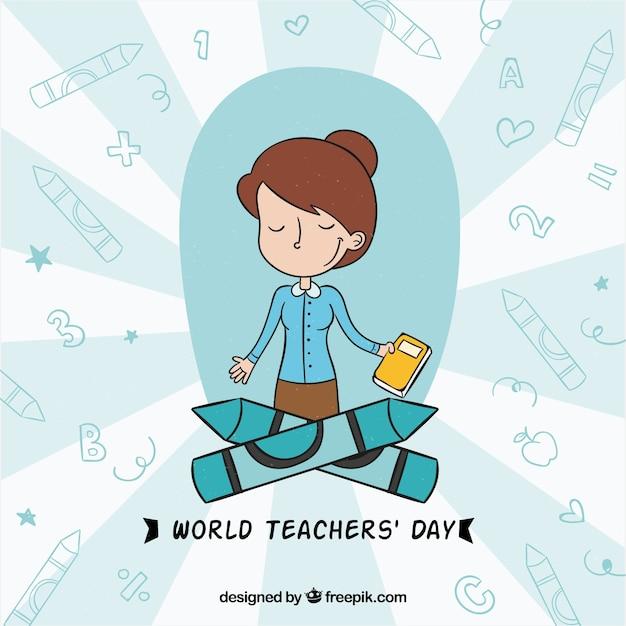 Profesora contenta en el día mundial de los docentes Vector Premium