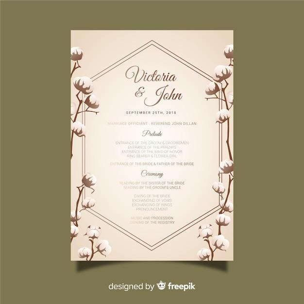 Programa de boda vector gratuito