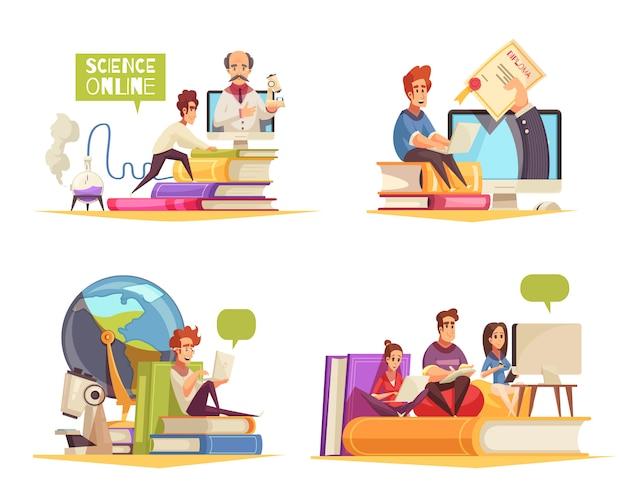 Programa de cursos en línea aprendizaje a distancia en casa obteniendo el título universitario diploma concepto 4 composiciones de dibujos animados aisladas vector gratuito