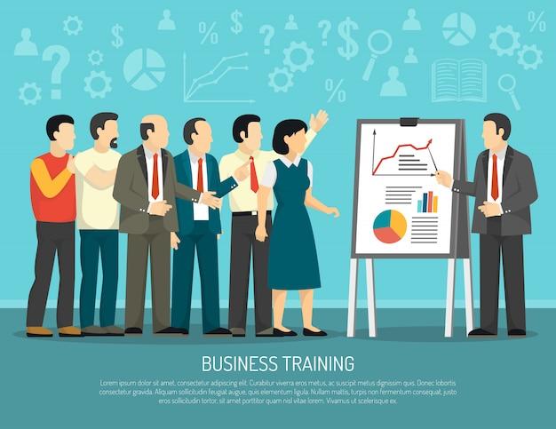 Programa de entrenamiento de negocios clase ilustración plana vector gratuito