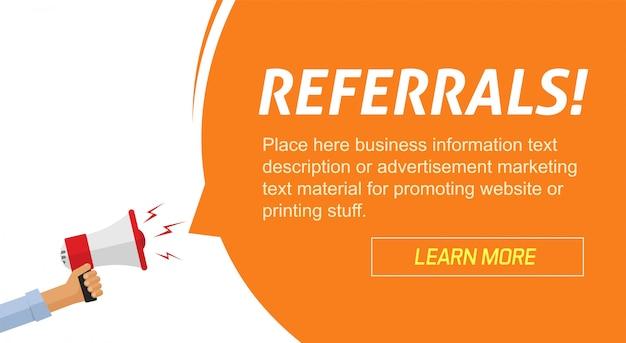 Programa de referencias marketing publicitario banner web con anuncio de información de altavoz Vector Premium