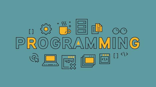 Programación infográfica Vector Premium