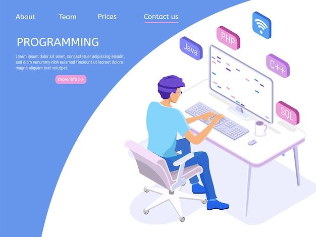 Programación de página de inicio con ingeniero en el trabajo. Vector Premium