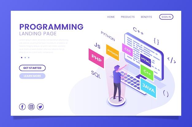 Programación de la página de inicio de la página de inicio Vector Premium