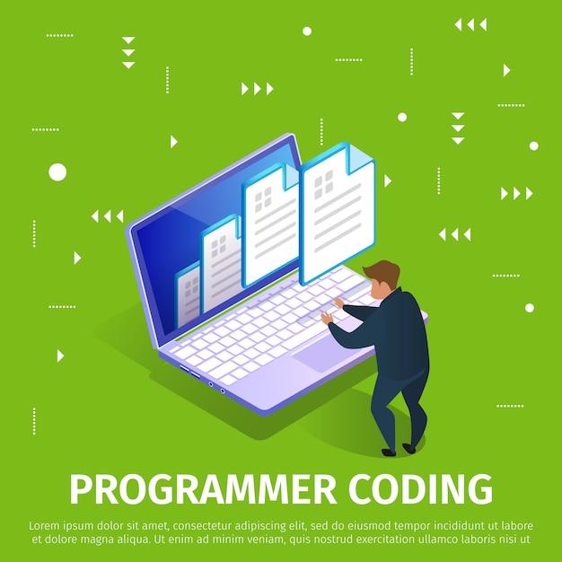 Programador de codificación de la bandera con el patrón abstracto. Vector Premium