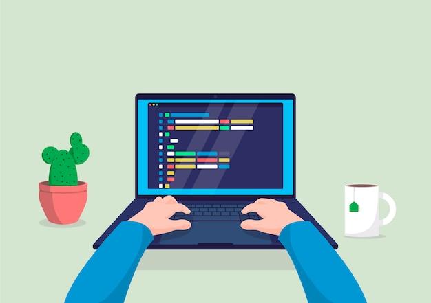 Programador del hombre que trabaja en la computadora con código en la ilustración de la pantalla. Vector Premium