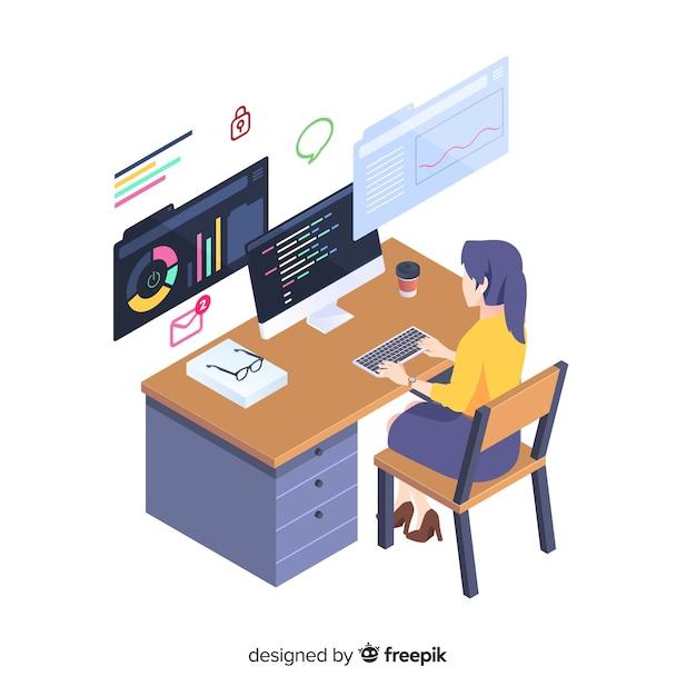 Programador trabajando en estilo isométrico vector gratuito