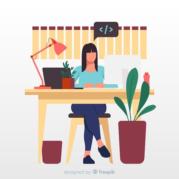 Programador trabajando en la ilustración de la oficina vector gratuito