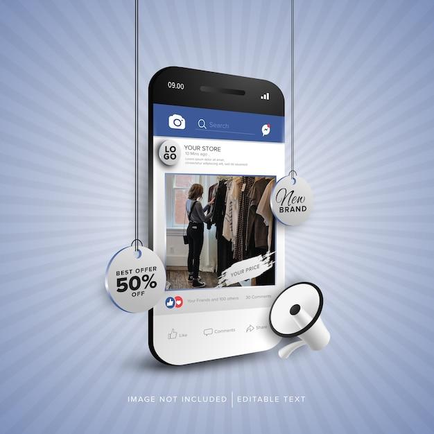 Promoción de banner de compras en línea en la aplicación de redes sociales Vector Premium