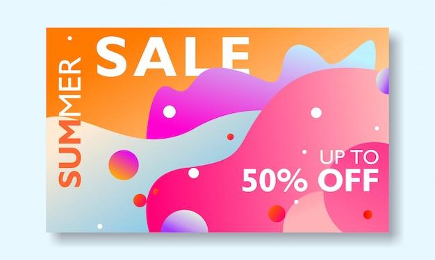 Promoción de banner de venta de verano Vector Premium