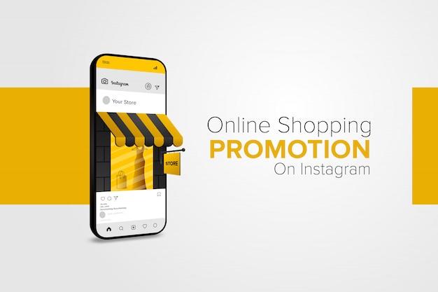 Promoción de compras en línea en la aplicación móvil de redes sociales. Vector Premium