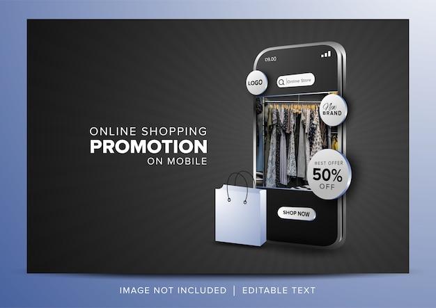 Promoción de compras en línea en la aplicación móvil sobre fondo gris oscuro Vector Premium
