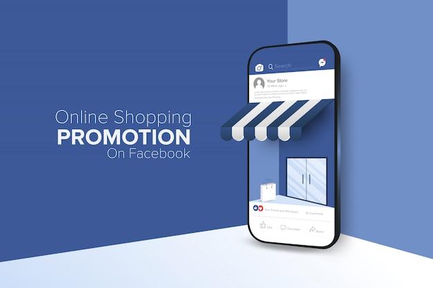 Promoción de compras en línea en la aplicación de redes sociales. Vector Premium