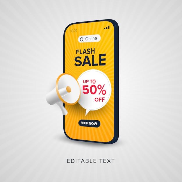 Promoción de compras en línea de venta flash con texto editable Vector Premium
