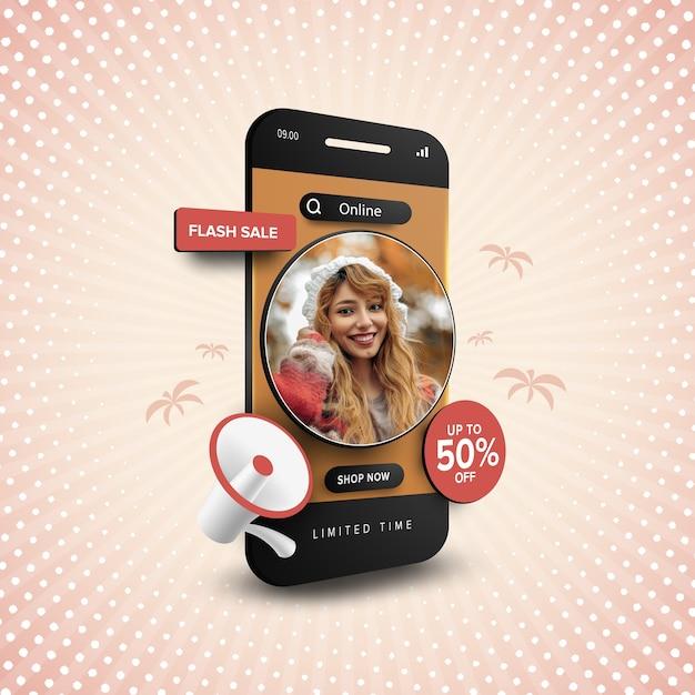 Promoción de compras online de venta flash con texto editable Vector Premium