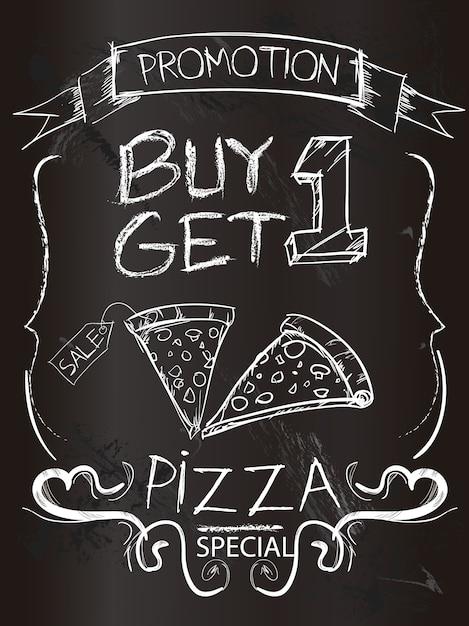 Promoción de pizza sobre pizarra de tiza   Descargar Vectores gratis
