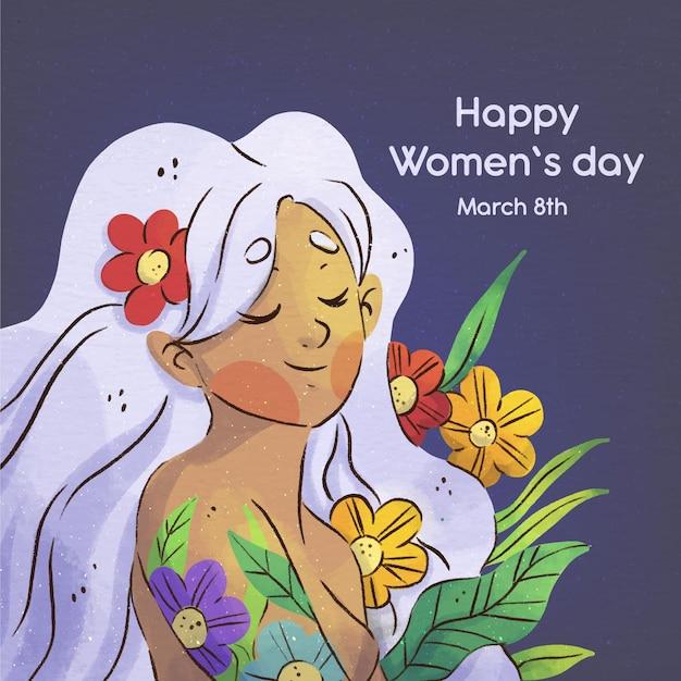 Promoción del día internacional de la mujer en acuarela. vector gratuito