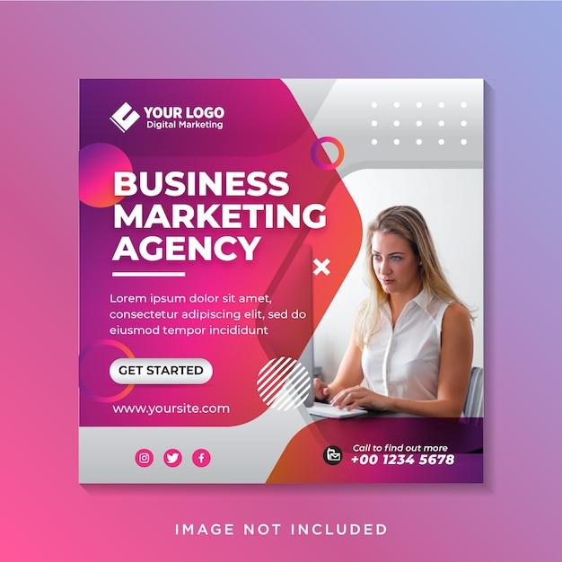 Promoción empresarial y plantilla de banner de redes sociales corporativas o folleto cuadrado Vector Premium