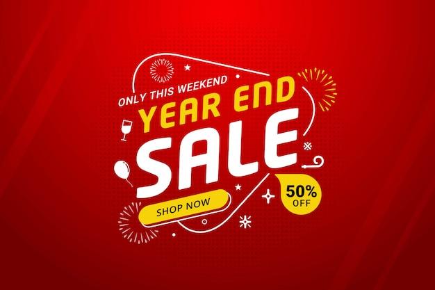 Promoción de plantilla de banner de descuento de venta de año nuevo Vector Premium