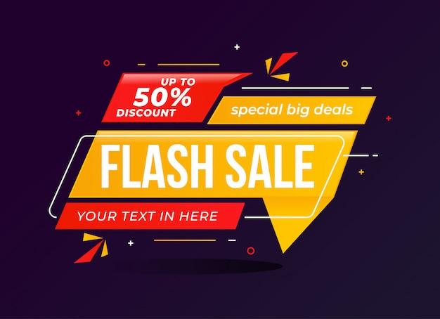Promoción de plantilla de banner de descuento de venta flash Vector Premium