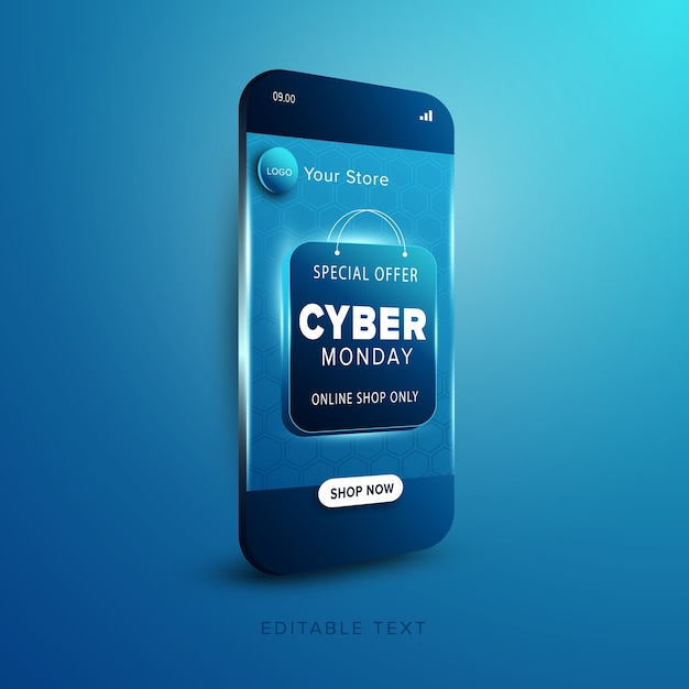 Promoción tienda online cyber monday Vector Premium