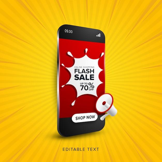 Promoción de venta flash de compras en línea. Vector Premium