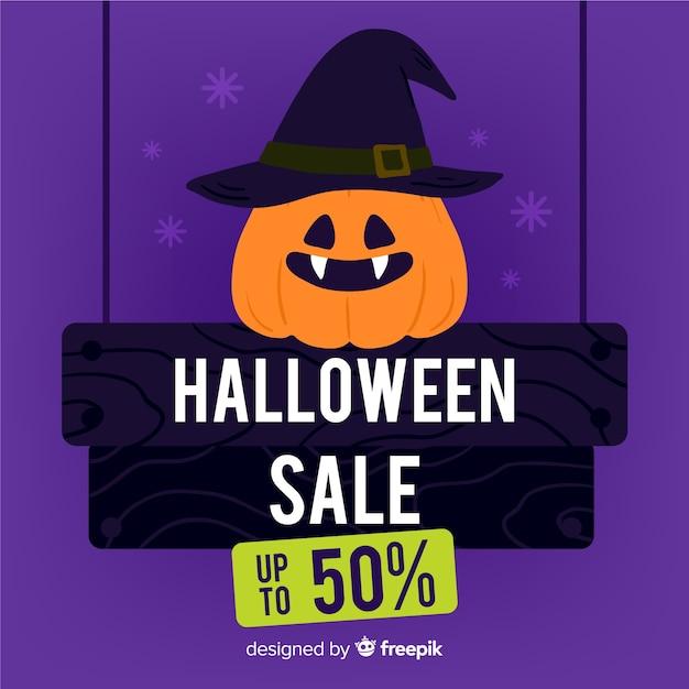 Promoción de venta de halloween dibujada a mano vector gratuito
