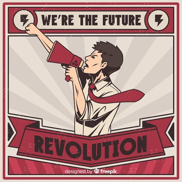 Propaganda de revolución retro vector gratuito