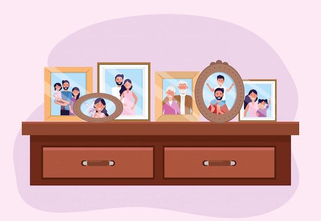 Propait con recuerdos de fotos familiares en la cómoda. vector gratuito