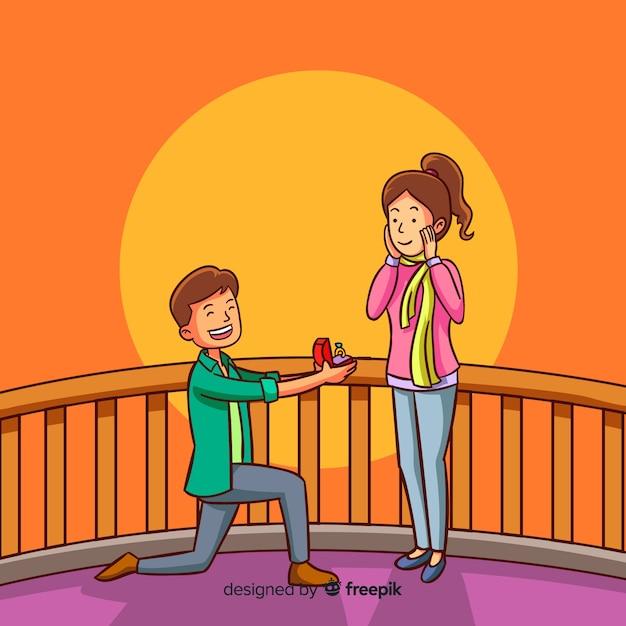 Proposición de matrimonio adorable con estilo de dibujo animado vector gratuito