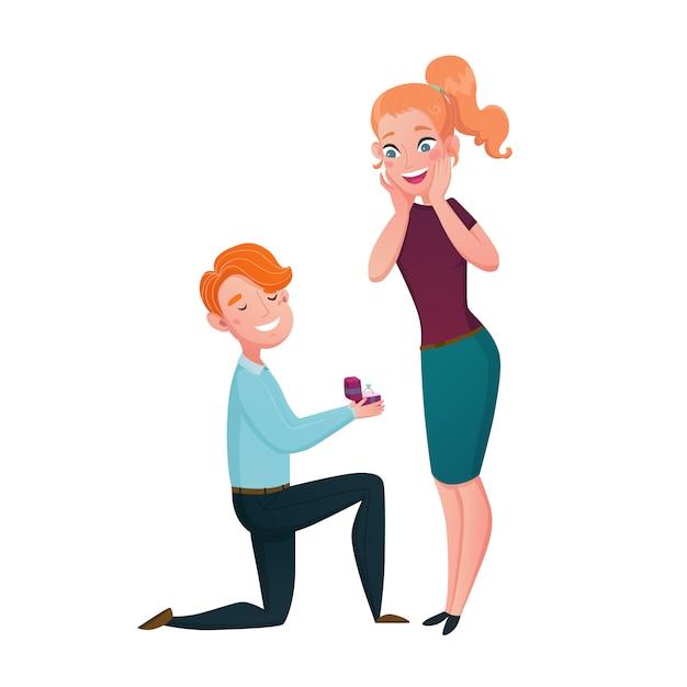 Propuesta de matrimonio hombre arrodillado escena de dibujos animados vector gratuito