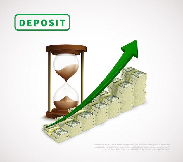 Prosperidad de dinero plantilla de negocio realista vector gratuito